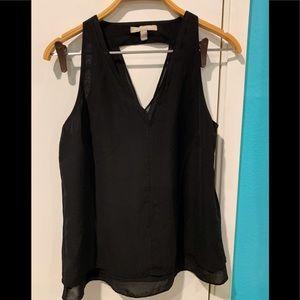 Black sheer banana republic sleeveless blouse
